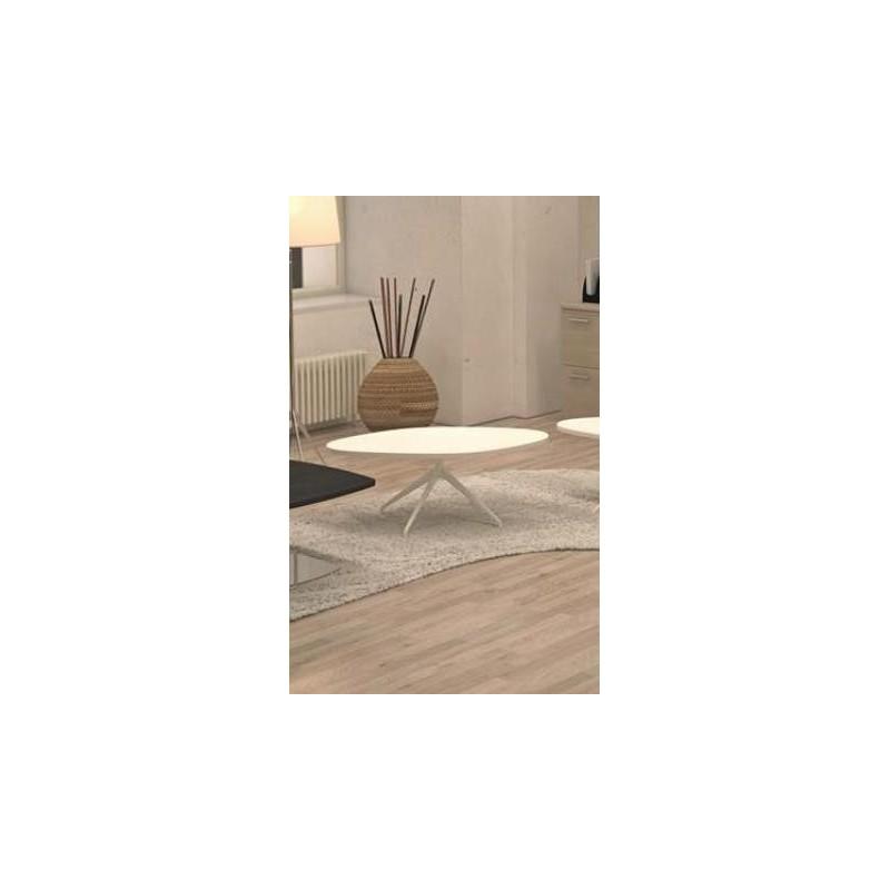 Table Basse Harmony Galet Pied Acier Pyramidal Couleur Acier Ch